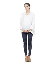 Best Of The Bump Quarter Sleeves Front Button Maternity Shirt White - Free Size