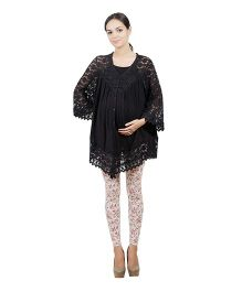 Best Of The Bump Quarter Sleeve Lace Trim Maternity Top Black - Medium