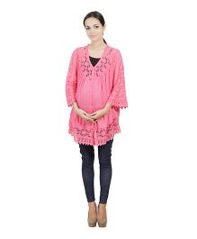 Best Of The Bump Quarter Sleeve Lace Trim Maternity Top Pink - Medium