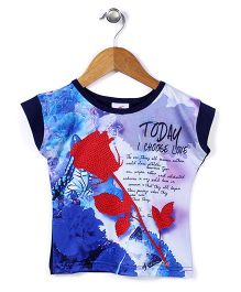 Lei Chie Casual Top With Digital Print - Blue