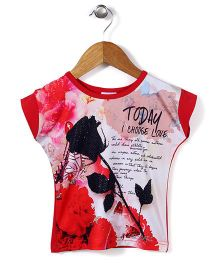 Lei Chie Casual Top With Digital Print - Red