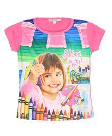Eimoie Shine With Colors Print Tee - Pink