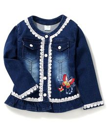 Bleeding Blue by Babyhug Full Sleeves Jacket Butterfly Embroidery - Dark Blue
