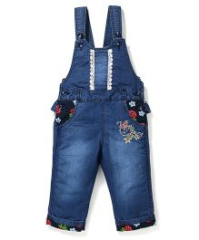 Bleeding Blue by Babyhug Dungarees Butterfly Embroidery - Blue