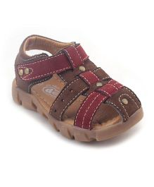 Doink Sandals With Velcro Closure - Brown Red