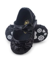 Doink Sequin Work Belly Shoes Bow Applique - Black