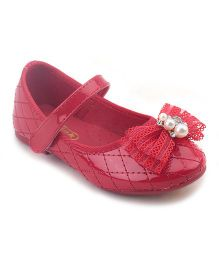 Doink Belly Shoes  Bow And Pearl Detail - Red