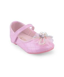 Doink Belly Shoes Floral Applique Pearl Detail - Pink