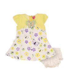 Lady Li'l Short Sleeves Printed Frock - Yellow