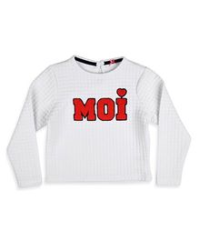 Mothercare Full Sleeves Quilted Sweat Top - White