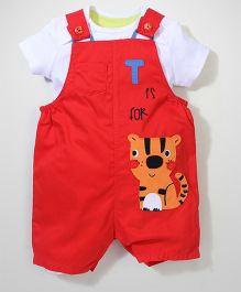 Mothercare Onesie With Dungaree Tiger Applique - Red & White