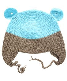 Nappy Monster Crochet Cap With Ears - Blue & Brown