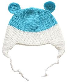 Nappy Monster Crochet Cap With Ears - White & Blue