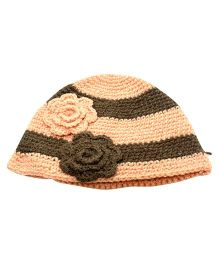 Nappy Monster Flower Stripped Crochet Cap - Peach & Brown