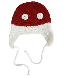 Nappy Monster Crochet Cap With Eyes - White & Maroon
