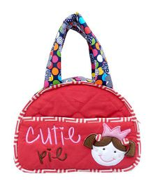 Little Pipal Cutie Pie Diaper Bag And Diaper Changing Mat Caddy - Red