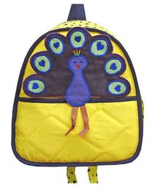 Little Pipal Jungle Collection Peacock Toddler Backpack Yellow And Blue - 11 Inches