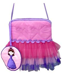 Little Pipal Royal Princess Cross Body Tutu Tote Pink And Purple - 9 Inches