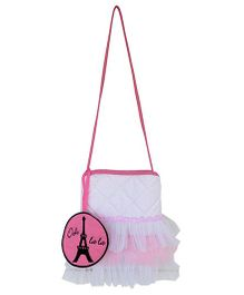 Little Pipal Paris Cross Body Tutu Tote Pink And White - 9 Inches