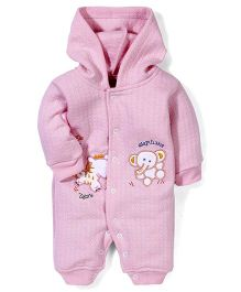 Babyhug Hooded Romper Elephant Embroidery - Pink