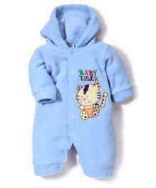 Babyhug Full Sleeves Hooded Romper Tiger Embroidery - Blue