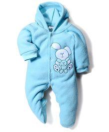 Babyhug Full Sleeves Hooded Romper Teddy Embroidery - Blue
