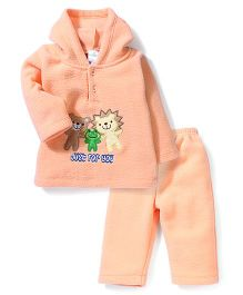 Babyhug Full Sleeves Hooded T-Shirt And Pant Animal Embroidery - Peach