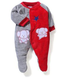 Babyhug Footed Romper Bear Embroidery - Red Grey