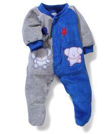 Babyhug Footed Romper Bear Embroidery - Blue Grey