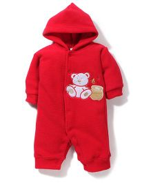 Babyhug Hooded Romper Teddy Embroidery - Red