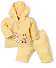 Babyhug Full Sleeves Hooded T-Shirt And Pant Patch Work - Yellow