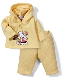 Babyhug Hooded Jacket And Pant Berry Embroidery - Yellow