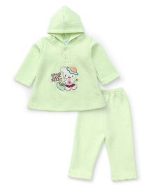 Babyhug Hooded Jacket And Pant Berry Embroidery - Green