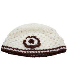Nappy Monster Flower Crochet Cap - White & Brown