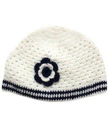 Nappy Monster Flower Crochet Cap - White & Blue