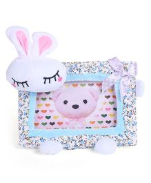 Bunny Face Rectangle Photo Frame with Bow and Flower Print - Blue