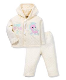 Little Darlings Hooded T-Shirt And Leggings Set Animal Embroidery - Light Yellow