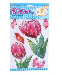 Room Decor Tulips Theme Wall Stickers - Pink And Green