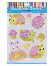 Turtle And Mushroom Peel And Stick Handmade Stickers - Multicolor