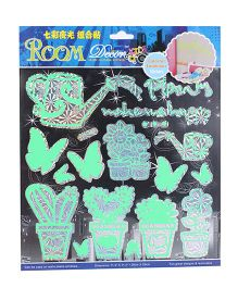 Room Decor Potted Garden Theme Wall Stickers - Neon Green