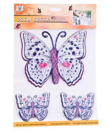 Room Decor Kids Butterfly Wall Stickers Purple And White - 3 Pieces