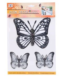 Room Decor Kids Butterfly Wall Stickers Black And White - 3 Pieces
