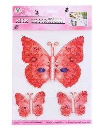 Room Decor Kids Butterfly Wall Stickers Red - 3 Pieces