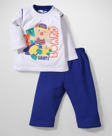Babyhug Winter Wear T-Shirt And Pant Set - White And Blue