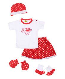 Beebop 5 Piece Baby Apparel Gift Set - Red & White