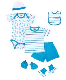 Beebop 7 Piece Baby Apparel Gift Set - Turquoise Blue