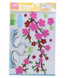Flowers And Duck Print Wall Paper Sticker - Pink