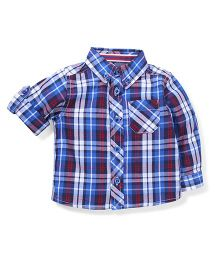 Mothercare Full Sleeves Checked Shirt - Blue And White