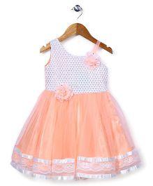 Babyhug Singlet Party Wear Dress Floral Applique - Peach