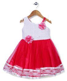 Babyhug Singlet Party Wear Dress Floral Applique - Fuchsia